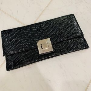 Black Crocodile Print Clutch